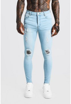 Spray On Skinny Jeans With Distressing, Light blue, Uomo