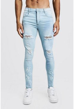 Super Skinny Bleached Hem Ripped Jeans, Light blue, Uomo