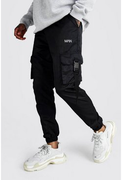 Herr Black Official MAN Shell Buckle Joggers