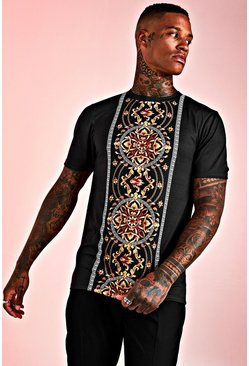 Mens Black Muscle Fit Baroque Print Panelled T-Shirt