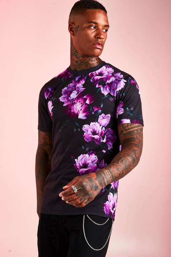 Black Muscle Fit Floral Colour Block T-Shirt