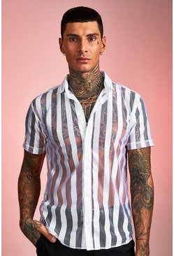 Mens White Semi Sheer Stripe Short Sleeve Shirt