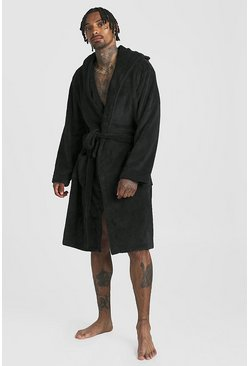 Mens Black Mens Fleece Hooded Gown