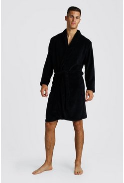 Black Mens Fleece Shawl Collar Gown