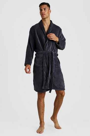 Mens Charcoal Mens Fleece Shawl Collar Gown