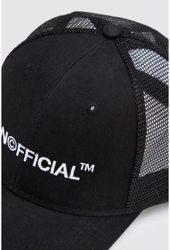 Mens Black MAN Official Embroidered Trucker Cap