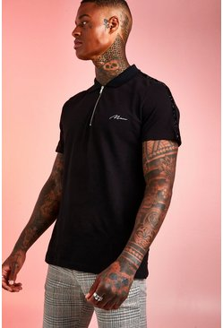 Black Pique Zip Polo With Metallic Tape