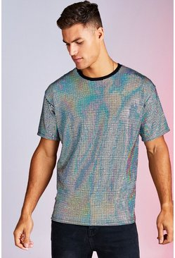 Mens Black Iridescent Sequin Party T-Shirt In Loose Fit