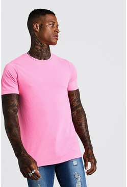 Fitted T-Shirt In Washed Neon Pink, HERREN