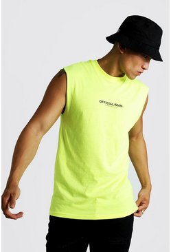 Mens Neon-yellow MAN Official Drop Armhole Tank