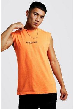 Neon-orange MAN Official Drop Armhole Tank