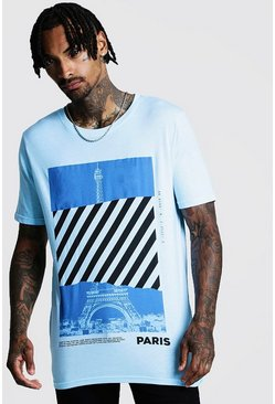 Mens Aqua Loose Fit Front & Back Graphic T-Shirt