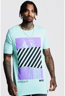 Mens Mint Loose Fit Front & Back Graphic T-Shirt