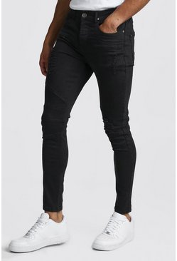 Washed black Super Skinny Distressed Jean With Biker Stitch Detail