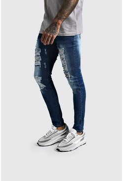 Mens Mid blue Super Skinny Extreme Distressed Jeans