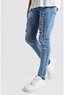 Mens Indigo Super Skinny Extreme Distressed Jeans