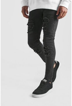 Black Super Skinny Biker Jeans With Distressing