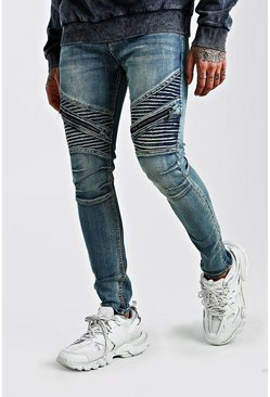 Mens Mid blue Super Skinny Biker Jeans With Zips