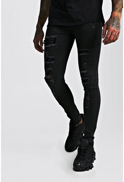 Black Premium Super Skinny Jewel Rip & Repair Jeans