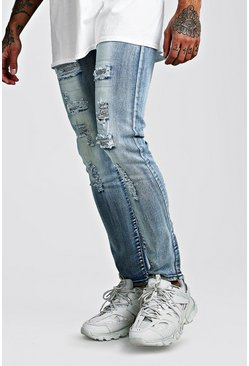 Mens Blue Premium Super Skinny Jewel Rip & Repair Jeans