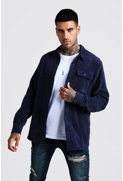 Mens Navy Fine Cord Long Sleeve Shirt