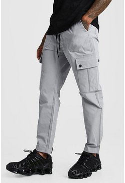 Mens Grey Velcro Cuff Cargo Pocket Trouser