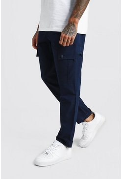 Mens Navy Velcro Cuff Cargo Pocket Trouser