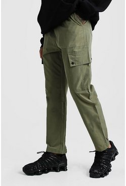 Mens Khaki Velcro Cuff Cargo Pocket Trouser