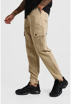Mens Stone Velcro Cuff Cargo Pocket Trouser