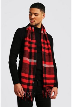Mens Red Dark Check Tassel Scarf