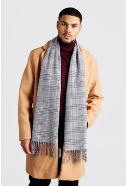 Mens Grey Prince Of Wales Check Scarf