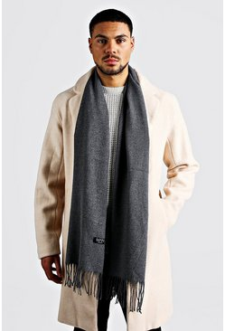 Mens Dark grey Plain Tassel Scarf