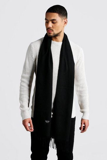 Mens Black Plain Tassel Scarf