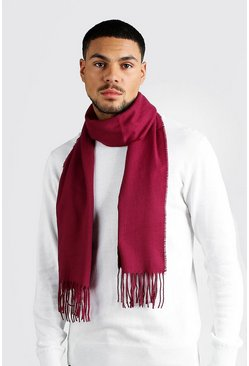 Mens Burgundy Plain Tassel Scarf