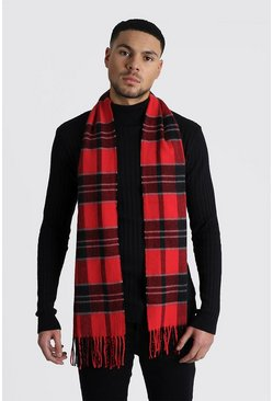 Mens Red Large Check Scarf