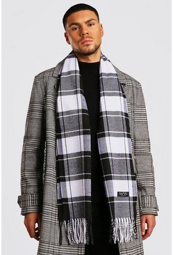 Mens Black Large Check Mono Scarf
