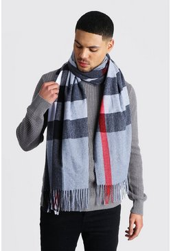 Mens Dark grey Oversized Check Scarf