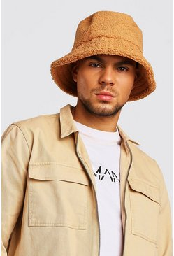 Beige Borg Bucket Hat