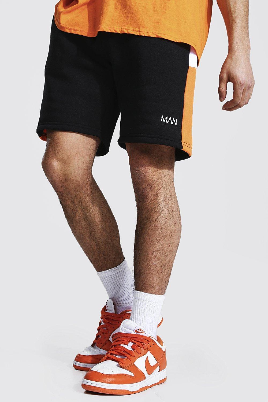 mens orange regular man colour block jersey shorts, orange