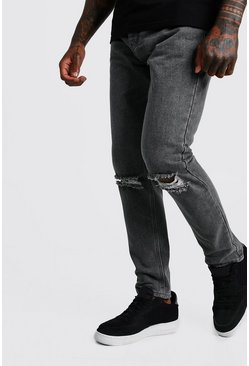 Mens Mid grey Slim Fit Jeans With Busted Knees