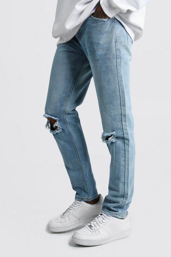 Mens Light blue Slim Fit Jeans With Busted Knees