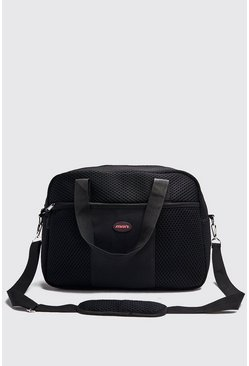 Herr Black Mesh Gym Bag With MAN Patch