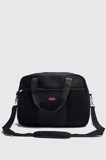 Black Mesh Gym Bag With MAN Patch