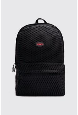 Mens Black Mesh Backpack With MAN Patch