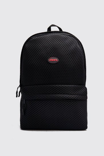 Black Mesh Backpack With MAN Patch