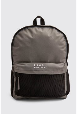 Grey Mesh Pocket MAN Backpack