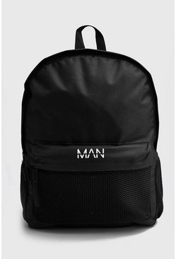 Mens Black Mesh Pocket MAN Backpack
