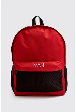 Mens Red Mesh Pocket MAN Backpack