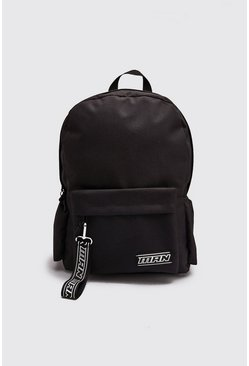 Black MAN Tape Zip Pocket Backpack
