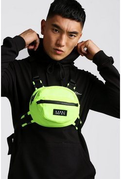 Mens Neon-yellow Circular Chest Rig With MAN Tab